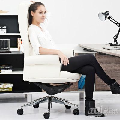 【HiBoss】豪华真皮老板椅总裁大班椅时尚电脑椅牛皮办公椅 白色