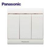 Panasonic松下电工开关插座面板 佳典纯系列 三开双控指示灯开关(16A) 86型 WMS516