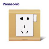 松下(Panasonic) 开关插座面板 铭悦金辉 带开关五孔插座 10只装