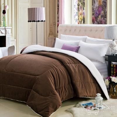 京良 加厚加绒毛被 冬被 单双人床羊羔绒保暖棉被 被子 200*230cm 咖啡色