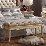 法莉娜 法式家具床尾凳 欧式时尚沙发凳 实木布艺床边凳 H39法式奢华卧室成套家具配套-布艺(七分哑珍珠白)