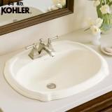 科勒(KOHLER)面盆台盆洗手盆珀特勒台上脸盆K-2189T-1/4/8-0 三孔8寸
