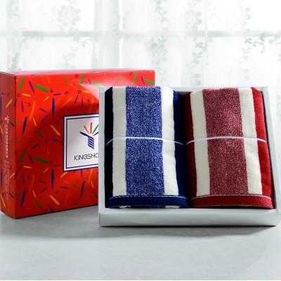 金号KING SHORE 纯棉毛巾 礼盒2条装 1744 公司团购 员工福利 红色礼盒2条装
