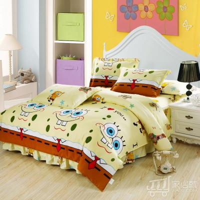 [德玉秀坊] 床裙式纯棉四件套 Q14-1 1米8床大号 海绵宝宝
