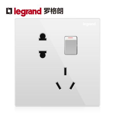 TCL-罗格朗开关插座面板 仕典 五孔带开关双控二三插电源插座86型 白色