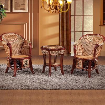 绿欣轩休闲椅茶几组合9015中式藤艺