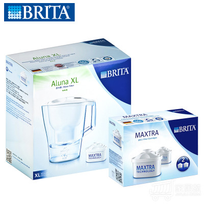 BRITA碧然德 滤水壶 白 ALUNA XL+滤芯 MAXTRA P23.5L 净水杯