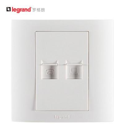 TCL-罗格朗开关插座面板 仕界系列 电话电脑插座 86型 雅白色