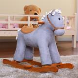 美亿佳益智宝宝儿童小木马摇马MM74 浅灰色 益智玩具 早教 白色木马摇马