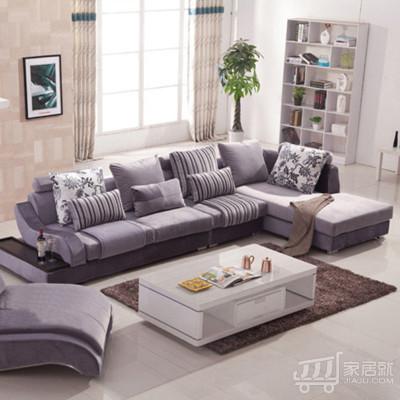 优选加美式布艺转角沙发v布艺家具客厅家具高蜡家具立新图片