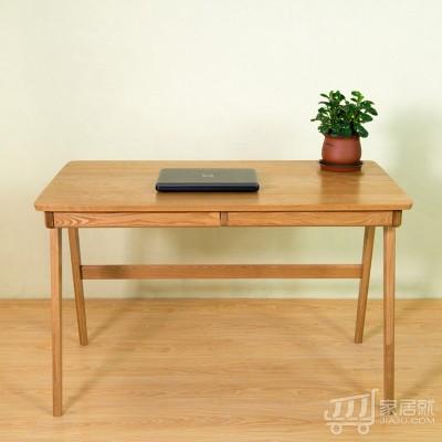 AJ 白橡木书桌日式电脑书房家具写字台全实木定制带抽屉书桌01 120*70*75 白橡木色