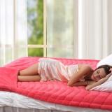 京良 加厚床护垫 专利暖脚宝保暖软床垫 超大双人床180*200cm 桃红色