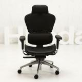 【黑白调】高端人体工学电脑椅 时尚老板椅办公椅HDNY050(黑色头层牛皮)