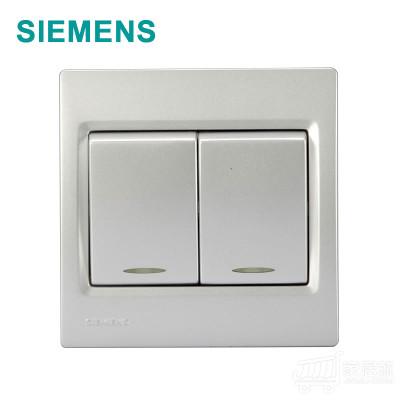 西门子 灵动 二开单控带荧光开关 金属银 5TA0762/2NC2