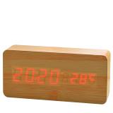 张家尚品 长方形迷你木头钟 ZJ-010 竹木红字 闹钟创意静音懒人夜光可爱电子时钟led声控
