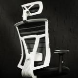 【黑白调】电脑椅 家用办公椅特价老板椅网布电竞椅HDNY065WM 升级版(白色) 家用办公椅