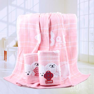 洁丽雅grace 纯棉纱布毛巾方巾浴巾三件套 可爱情侣 8779 粉色三件套