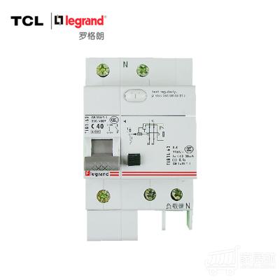 TCL-罗格朗 1P40A带漏电保护断路器 单极空气开关 TLB1L-63C40 标准型 浅灰色
