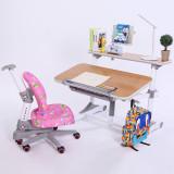 美亿佳 源自台湾 实木儿童书桌儿童学习桌桌椅套装可升降 写字台 粉色睿智椅套装