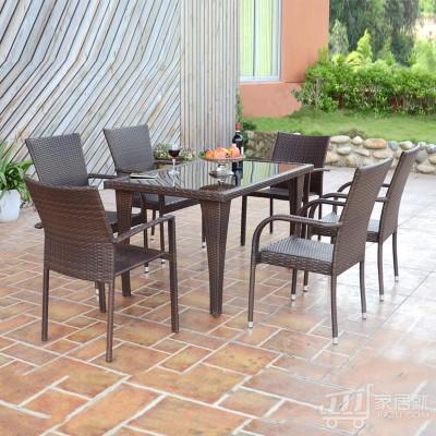 丰舍 户外花园庭院大象腿桌椅组合 阳台咖啡桌椅组合 fs-0704-hw 1桌6椅 深咖啡色