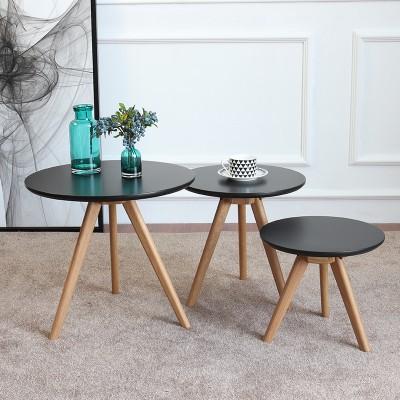 AJ小茶几实木简约中小户型圆形沙发边几日式客厅白橡木咖啡小圆桌 黑色漆整套