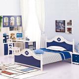 糖果屋 男孩卧室4件套 烤漆材质 1.5米床 床头柜 书桌 椅子 深蓝色 儿童家具