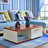 尚满 地中海客厅沙发茶几边桌 边框实木茶几桌 带抽屉 茶几