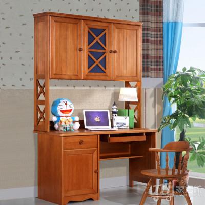 糖果屋 纯实木儿童电脑桌 直角书桌书架组合 如图色
