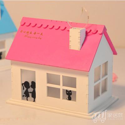 绿盒子 阳光浪漫满屋 太阳能小屋 创意礼物小夜灯 浪漫礼物氛围灯 生快歌定制-粉色