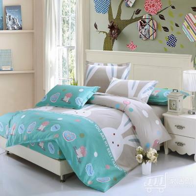 [德玉秀坊] 床笠式纯棉三件套 Q11-2 1米2床 大白兔-灰