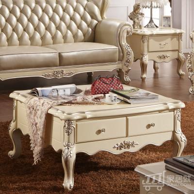 法莉娜法式茶台实木茶水桌沙发边角几 田园客厅家具 H56 1m*1m木面欧式方几