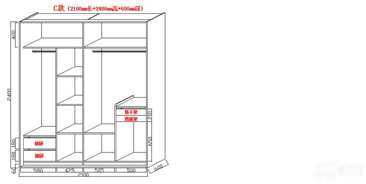 2米步入衣柜内部合理设计图展示图片