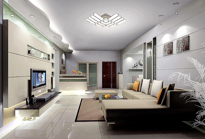 小区三居室客厅装修效果图 设计本装修效果图