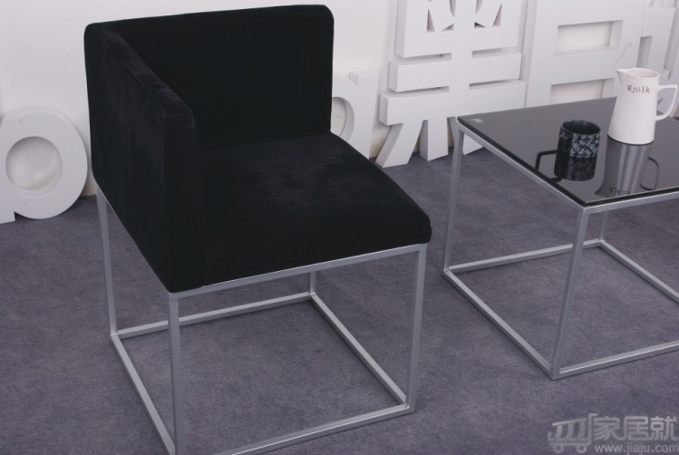 黑白调 宜家绒布沙发接待椅休闲椅 sdh011 黑色 特价包邮图片