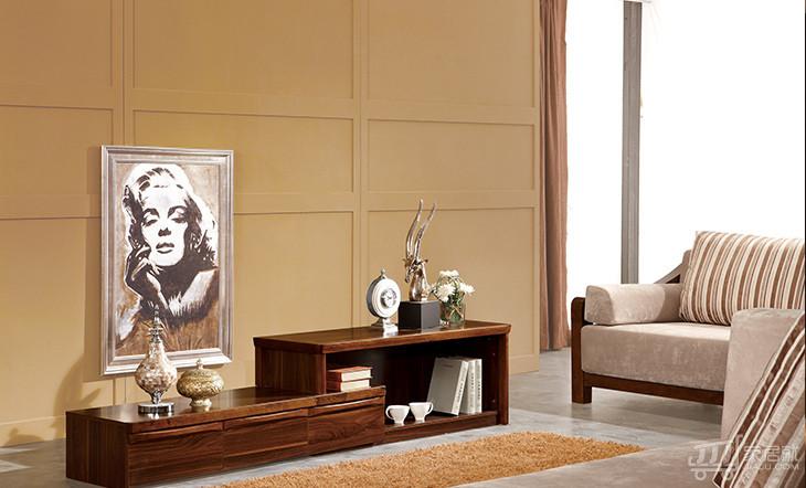 里外 胡桃木色电视柜 中式板木地柜 实木加板材 k9203图片