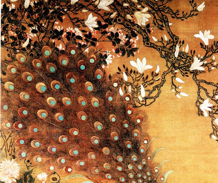 景墙 玉兰孔雀图