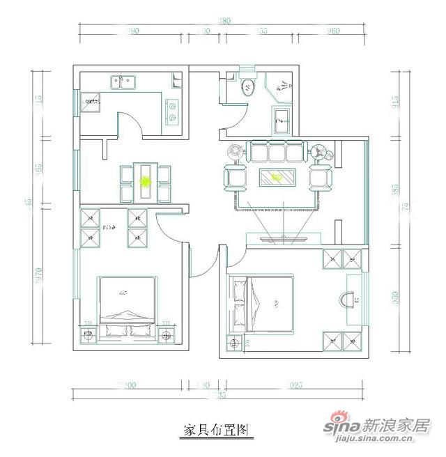 98平米两室两厅时尚现代风-4