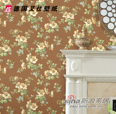 经典美式田园 客厅餐厅背景墙纸-1