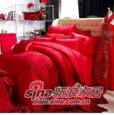 紫罗兰家纺 床上用品 全棉提花婚庆十件套迷情PC8030-10-0