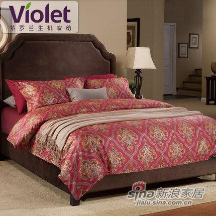 紫罗兰家纺 抗菌防螨四件套长绒棉贡缎床上用品套件-0