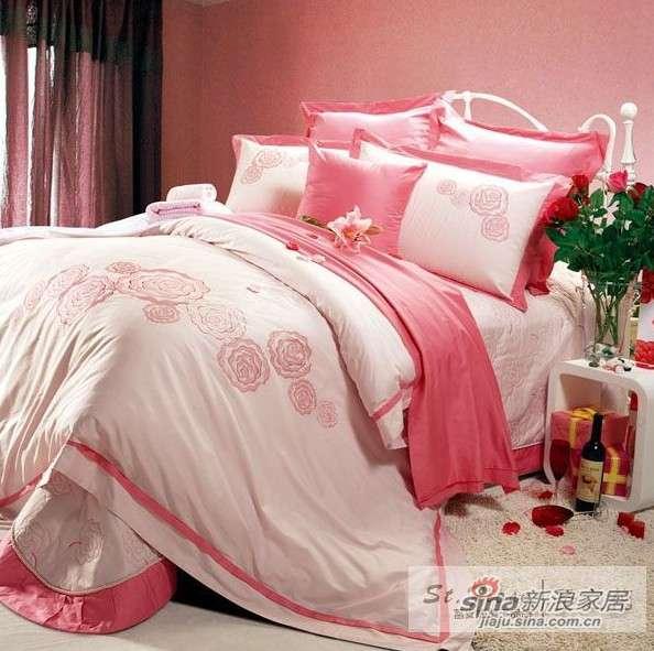 富安娜圣之花床品 40支纱斜纹绣花 盖被四件套玫瑰之恋-0
