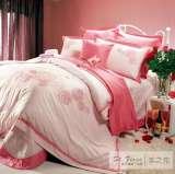 富安娜圣之花床品 40支纱斜纹绣花 盖被四件套玫瑰之恋