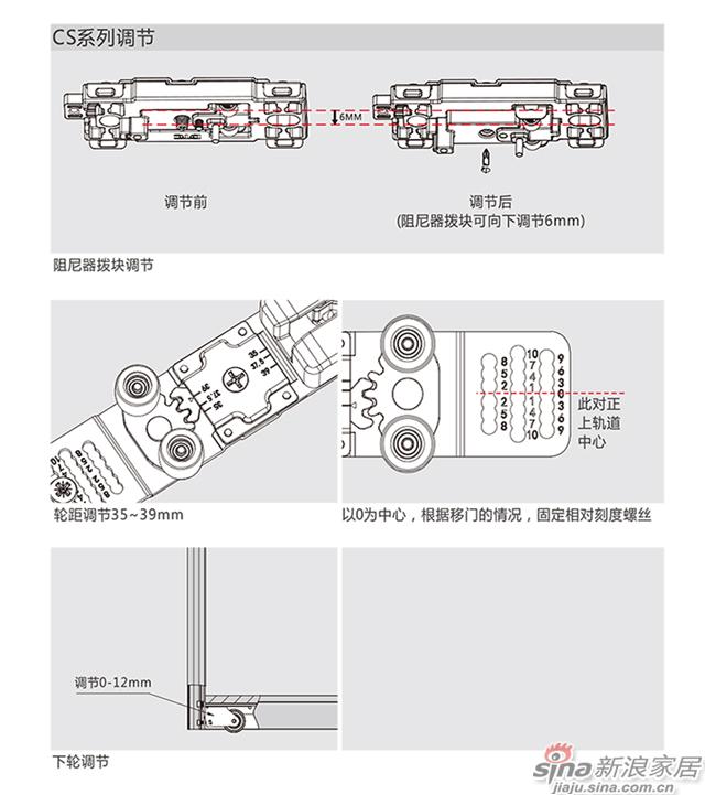 移趟星新一代趟门CS系列明装式下滑轮用于木门-9