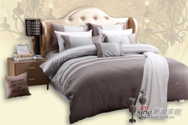 双叶深灰色高档纯棉床品七件套-0