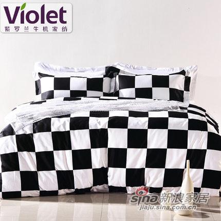 紫罗兰长绒棉四件套床上用品欧美风抗菌防螨套件-0