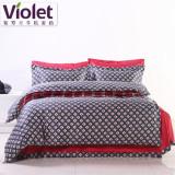 紫罗兰家纺 纯棉抗菌防螨床单式简约风床品四套件