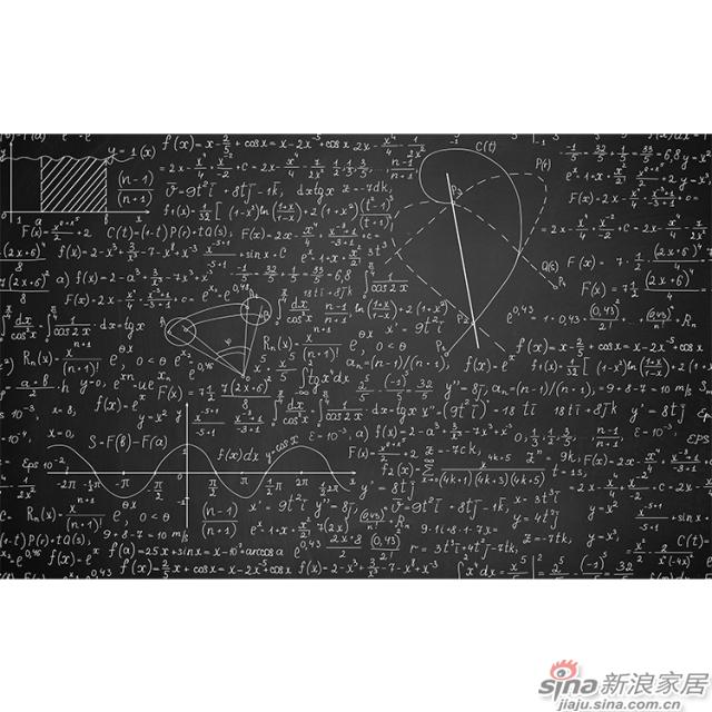 黑板_怀旧黑白数学公式图案壁画办公室\大厅壁画背景墙_JCC天洋墙布-1