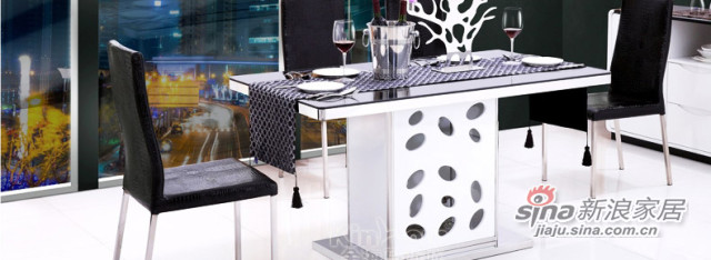黑白色钢化玻璃餐台