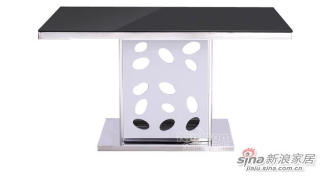 梵尔特系列现代简约黑白色钢化玻璃餐台-2