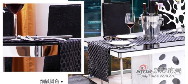 梵尔特系列现代简约黑白色钢化玻璃餐台-3